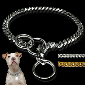 Dog Choker Slip Chain Collar Stainless Steel Curb Snake Necklace Rottweiler Gold