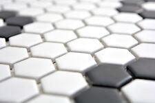 Carrelage mosaïque céramique hexagone noir blanc mat 11A-0103_b