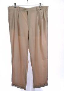 Brioni Mens 100% Virgin Wool Pleated Dress Pants Cuffed Khaki Sz 38R 38 Regular
