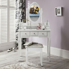 Home Discount Nishano Oval Mirror 5 Drawer Dressing Table - White