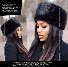 Women's Black Beaver Tall Round Fur Hat with Leather top