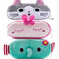 Cute Cartoon Animal Pencil Pen Case Soft Plush Makeup Cosmetic Zipper Pouch Bag
