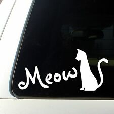 Cat Silhouette Meow for Cat Lovers Car Decal Sticker  White pets dogs love