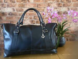 Bag Leather Duffle Men Travel Genuine Gym Luggage Overnight Mens Weekend Black