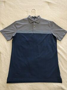 Peter Millar Crown Crafted Reinhardt Stripe Men's Golf Polo Size Medium EUC