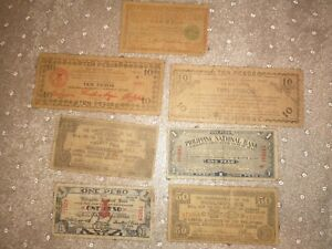 7x Occupied Philippines Local Emergency Issue Banknotes WWII Iloilo Mindanao 10P