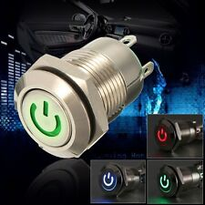 12V 2A 9.5mm Waterproof LED Metal Cap Power Momentary Push Button Switch Car DIY