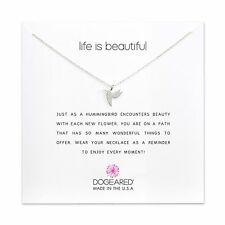 "Dogeared Life Is Beautiful Sweet Hummingbird Sterling 16""-18"" Box Necklace"