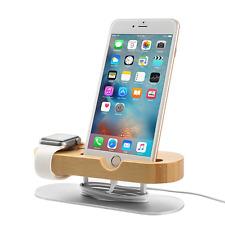 Soporte de reloj de Apple Iphone Muelle de carga, soporte de teléfono de madera de bambú escritorio montaje Ho