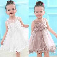 Lovely Baby Girls Clothes Applique Princess Dress Children Tutu Mesh Clothes