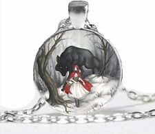 LITTLE RED RIDING HOOD WOLF Glass CABOCHON NECKLACE Fairytale Jewellery Gift