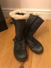 John Lewis Girls Black Snow Boots Size 2 Leather Fur