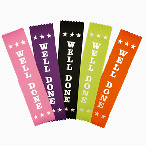 25 Well Done Award Ribbons - Mixed Colours - Metallic SILVER print