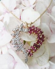 "ESTATE Diamond & Ruby Heart Pendant & 18.5"" Necklace ~ 14K Yellow Gold ~ MINT"