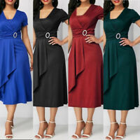 Chic Women Asymmetric Hem V Neck Mini Dress Midi Party Dresses Plus Size S-5XL