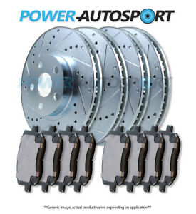 (FRONT + REAR) POWER DRILLED SLOTTED PLATED BRAKE DISC ROTORS + PADS 95861PK