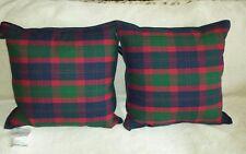 Ralph Lauren TARTAN PLAID RED/GREEN Wool PILLOWS (Norfolk Estate, Kensington )