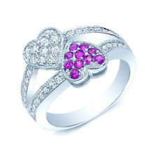 Pink Sapphire Diamond Ring 14K White Gold Double Twin Heart Split Shank Cocktail
