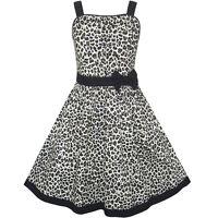 Sunny Fashion Girls Dress Leopard Print Summer Beach Sundress Age 4-12 Years