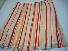 KENNETH COLE Skirt Size 6 Red Orange White Stripe Pleated Flare Stretchy Lined
