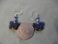 BUTTERFLY, BLUE SODALITE BEAD EARRINGS, SILVER (925) HOOK FITTING