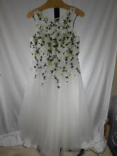 MISSES WHITE FLORAL EMBROIDERED BEAD EMBELLISHED TULLE DRESS TERI JON L 14 $950
