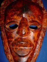 WOODEN MOROCCAN MOROCCO NORTH AFRICAN THUYA BURL MASK LOTS OF EYES FIGURE