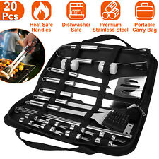 Stainless Steel Bbq Grill Tool Grilling Utensil Accessories Portable w/ Spatula