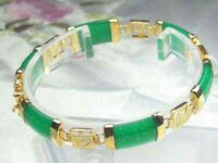 Women 7.5inch Gift 18K Gold Plated Nature Jade Bracelet Ladies Charm Jewelry
