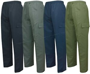 Mens Cargo Trousers Open Hem Fully Elasticated Bottoms with Zip Pockets S - XXL
