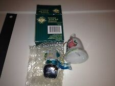 Pair of Christmas China Bells/Ornament - Snowman and Christmas Joy - Vgc