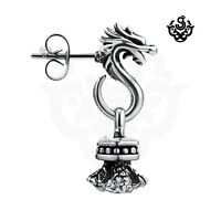 Silver dragon earring made with clear swarovski crystal stud SINGLE soft Gothic