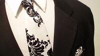 Damask Necktie  Men Satin Black White Necktie Wedding Party Groomsmen, Ringbear