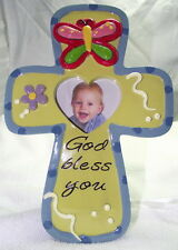 NEW Blue Frame, Christian Cross, Heart Opening for Photo, Cute for Baby Picture
