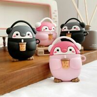 Cute Milk Tea Music Penguin Case For Airpods 1 2 Pro Charging Box Soft Silicone
