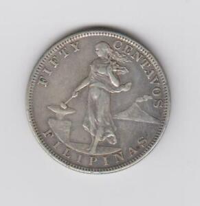 PHILIPPINES 50 Centavos 1903 90% silver