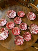 12 piece Red & White Marbled Enamelware Graniteware Spatter BOWLS Farmhouse