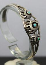 "Southwestern Sterling Silver & Turquoise Bear Claw Cuff Bracelet 6"""