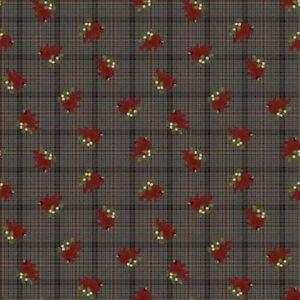 Another Moose is Loose Fabric   Benartex Cardinal on Brown Plaid Print   Yard