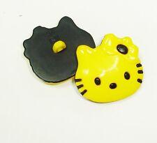 (2.80 EUR/Stück) Kinderknopf Hello Kitty gelb 28mm