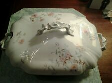 Antique Leonard large covered serving dish with spoon slot