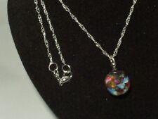 BLACK OPAL NECKLACE RUBY EMERALD FLOATING OPAL 925 STERLING SILVER