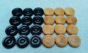 Vintage set of Wooden Draughts Pieces 31mm x 7mm - Brown Black - made in England