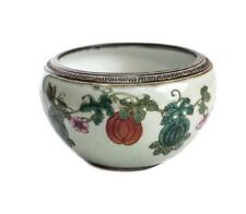 Antique Chinese Enamel Ceramic Bowl, 19th Century. Florals & Vines
