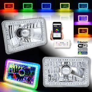 "4x6"" Bluetooth RGB SMD LED Color Chasing Halo Shift Angel H4 Bulb Headlight Pair"