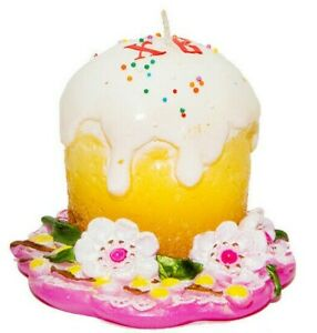 Easter Candle, Handmade Unscented Kulich Cake Shaped Candle, 26 hr burn time