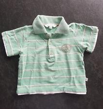 KANZ | Gestreiftes BABY T-SHIRT | Polo Shirt | grün-weiß-beige | Gr. 80 (12M)