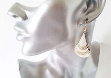 Beautiful 5cm long gold tone - white & sparkly glitter teardrop shape earrings