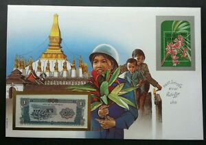 Laos Gold Covered PHRA THAT LUANG 1987 Orchid Flower FDC (banknote cover) *Rare