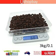 3000g 3Kg x 0.1g Digital LCD Coffee Kitchen Food Diet Weight Weighing Gram scale